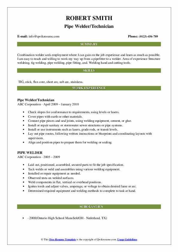 Pipe Welder/Technician Resume Example