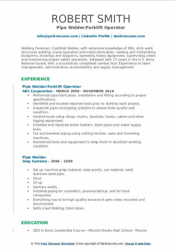 Pipe Welder/Forklift Operator Resume Template
