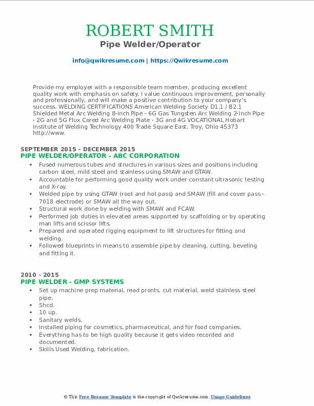 Pipe Welder/Operator Resume Template