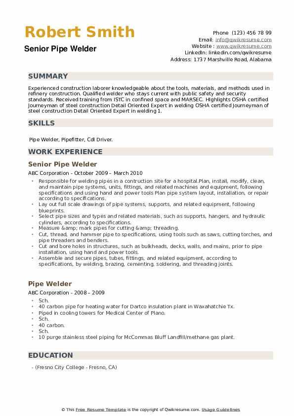 Senior Pipe Welder Resume Model