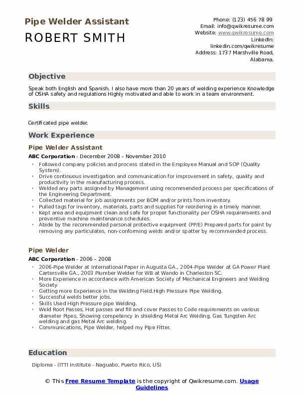 Pipe Welder Assistant  Resume Model