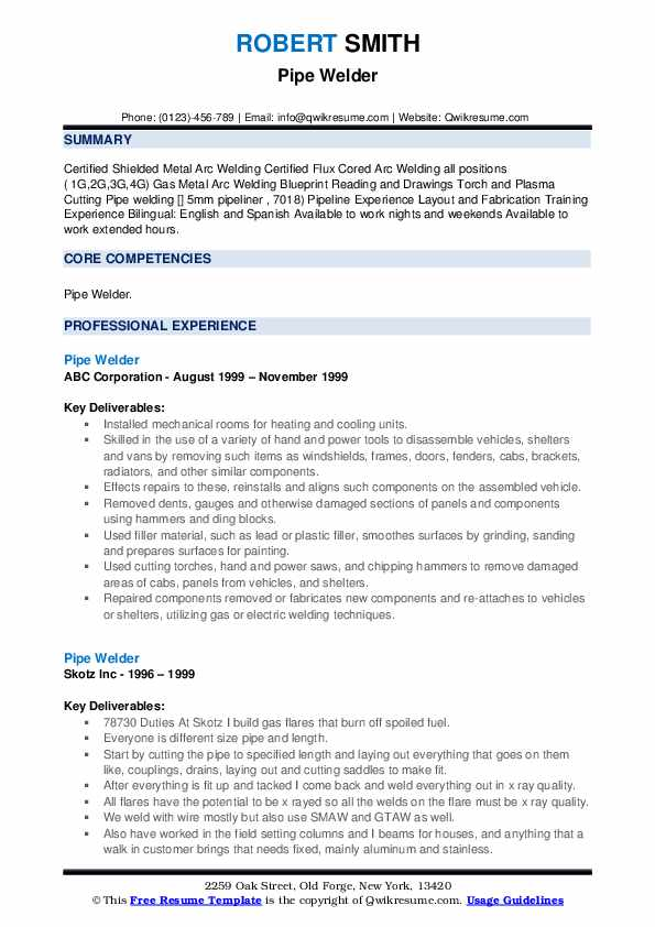 Pipe Welder Resume example