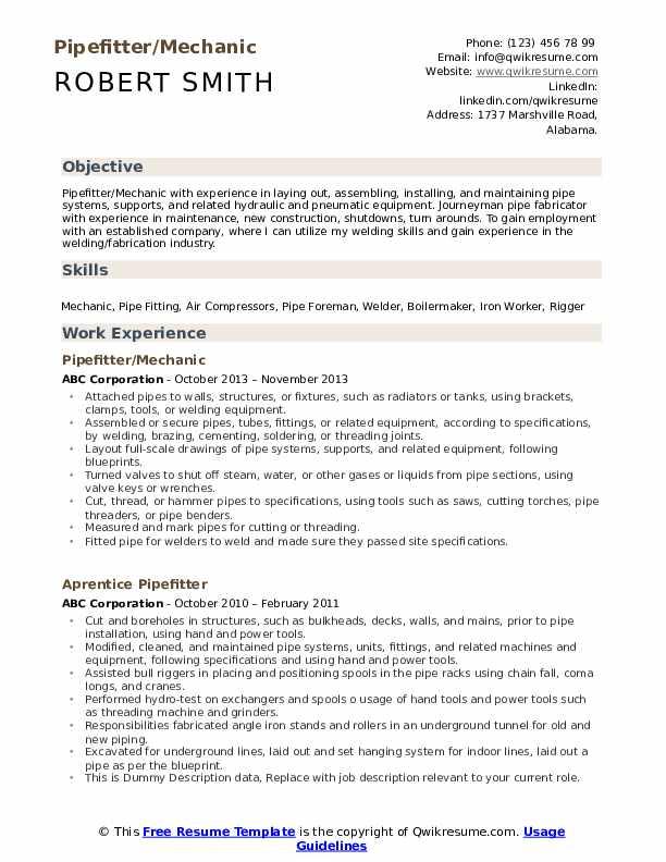 Pipefitter/Mechanic Resume Sample