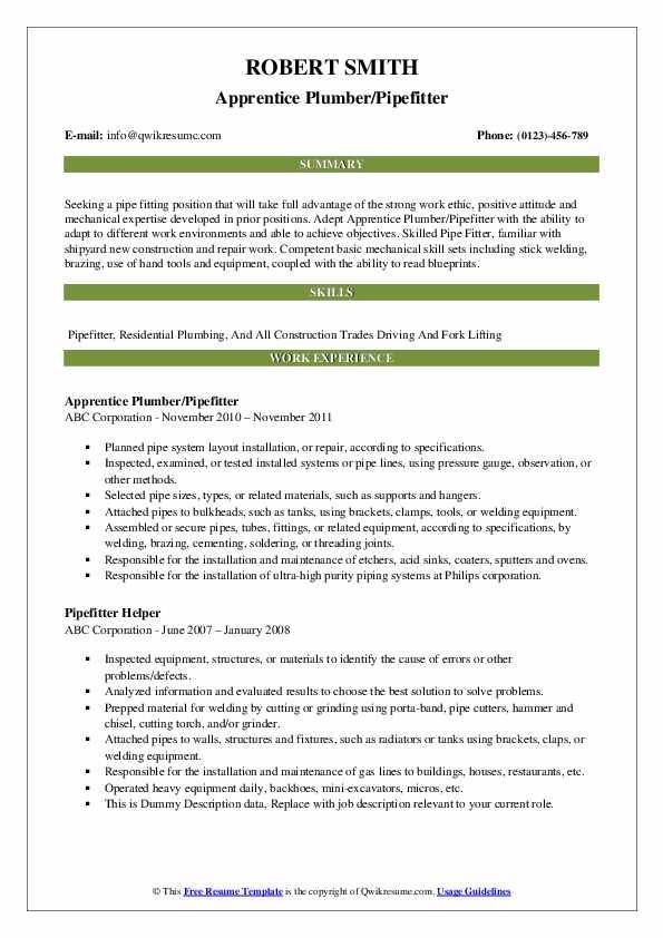 Apprentice Plumber/Pipefitter Resume Example