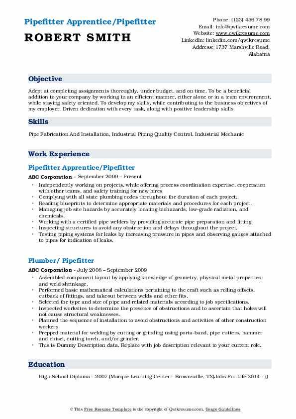 Pipefitter Apprentice/Pipefitter Resume Sample