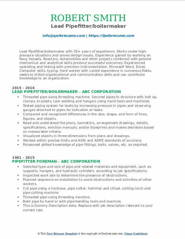 Lead Pipefitter/boilermaker Resume Example