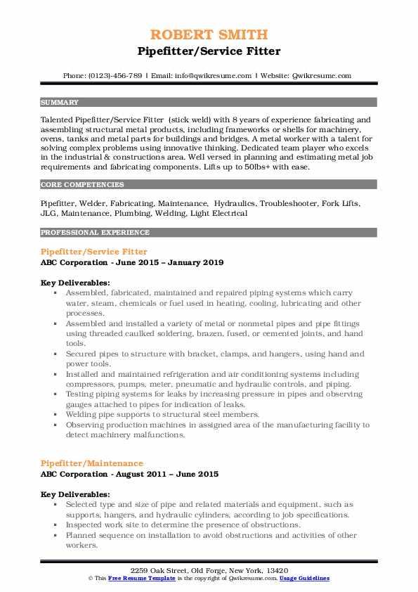 Pipefitter/Service Fitter Resume Format