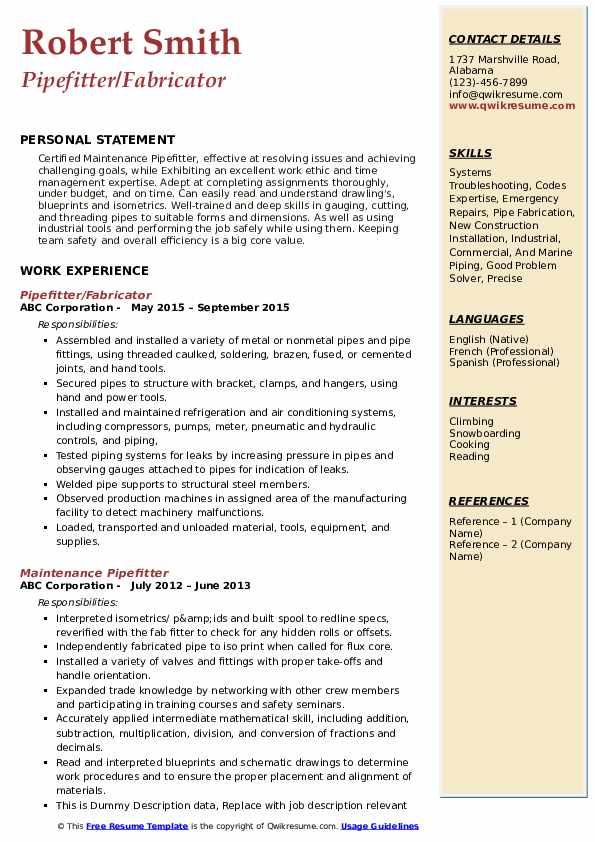 Pipefitter/Fabricator Resume Sample