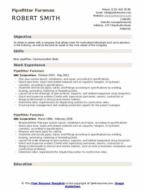 pipefitter foreman resume samples