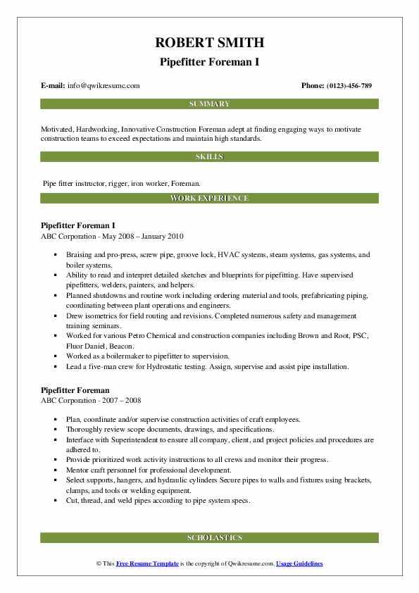 pipefitter foreman resume samples  qwikresume