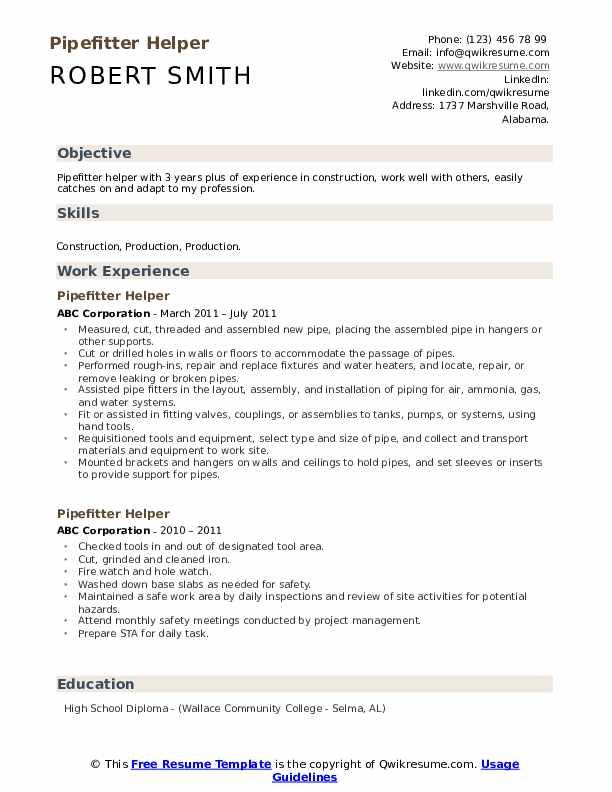 Pipefitter Helper Resume Sample