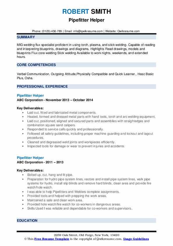 Pipefitter Helper Resume Model
