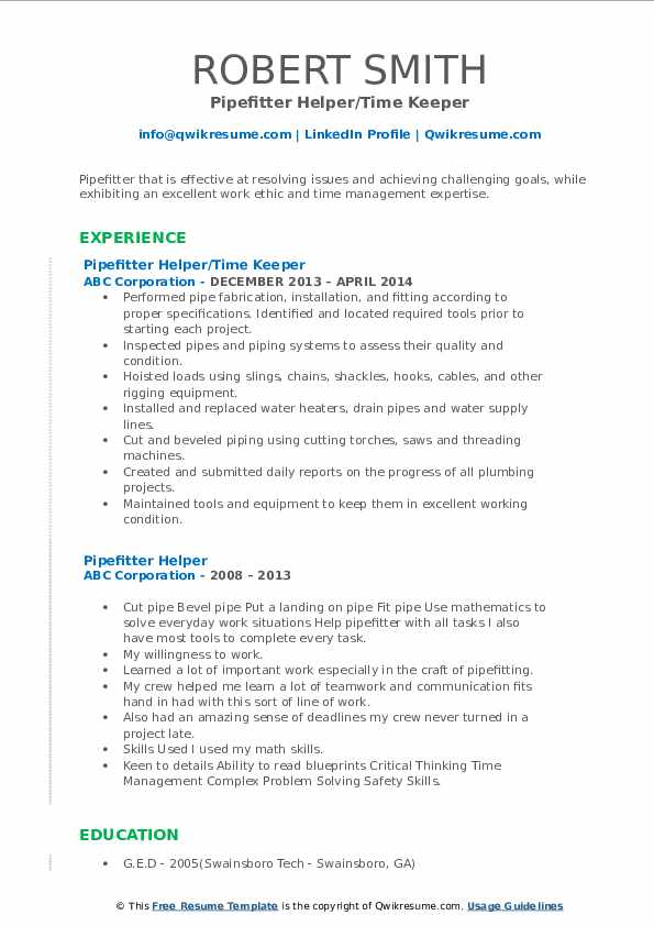 Pipefitter Helper/Time Keeper Resume Format