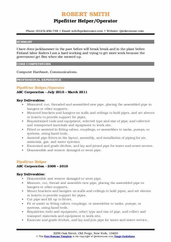 Pipefitter Helper/Operator Resume Format
