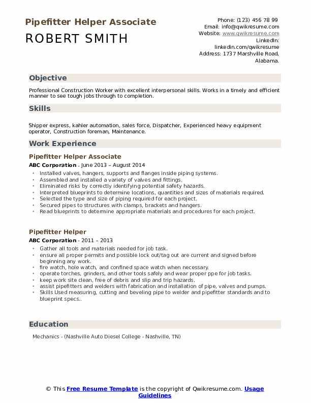 Pipefitter Helper Associate Resume Sample