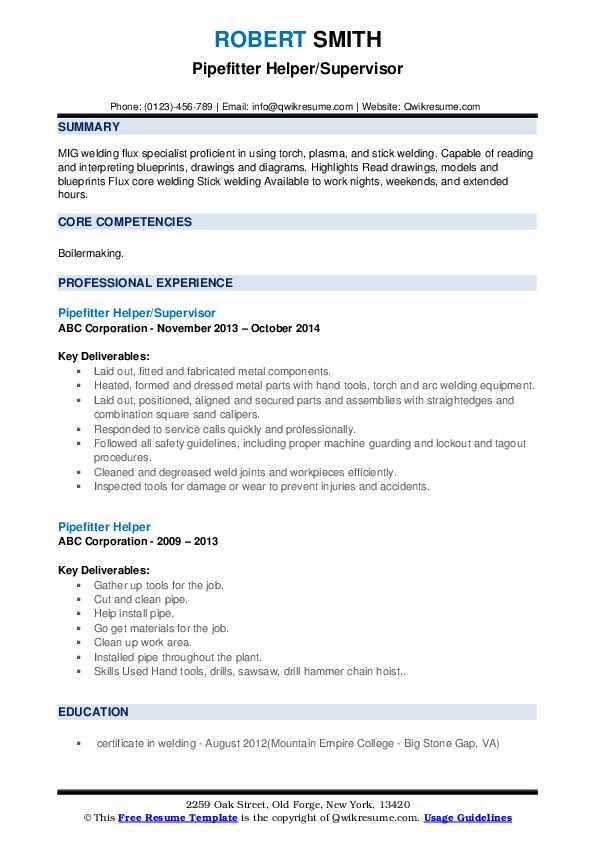 Pipefitter Helper Resume example