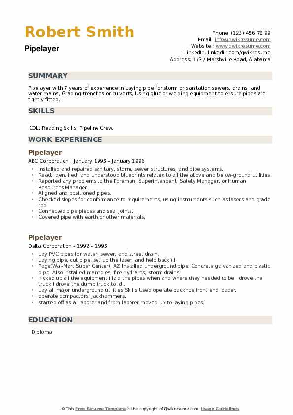 Pipelayer Resume example