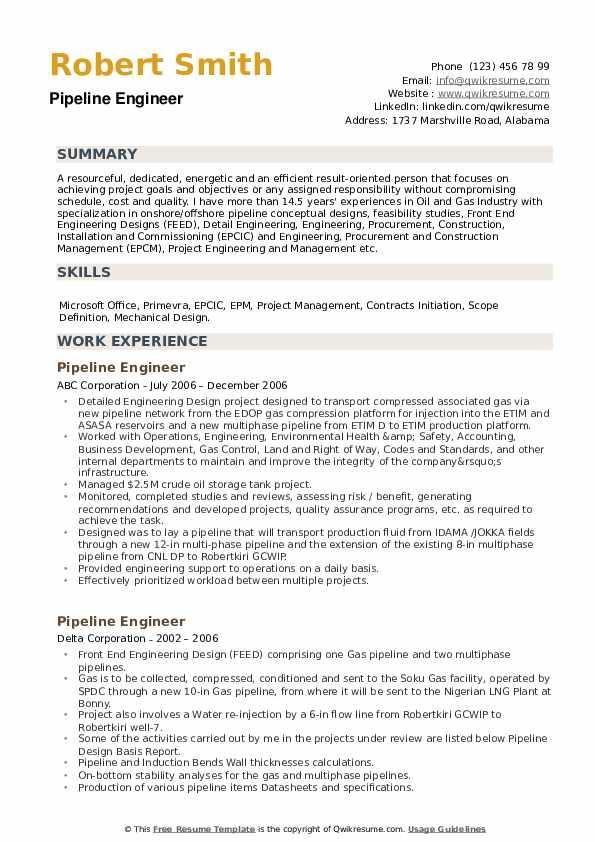 Pipeline Engineer Resume example