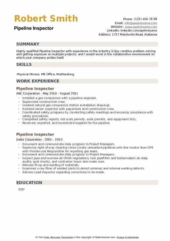 Pipeline Inspector Resume example
