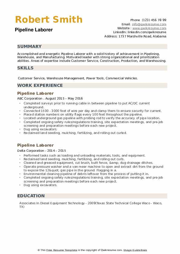 Pipeline Laborer Resume example