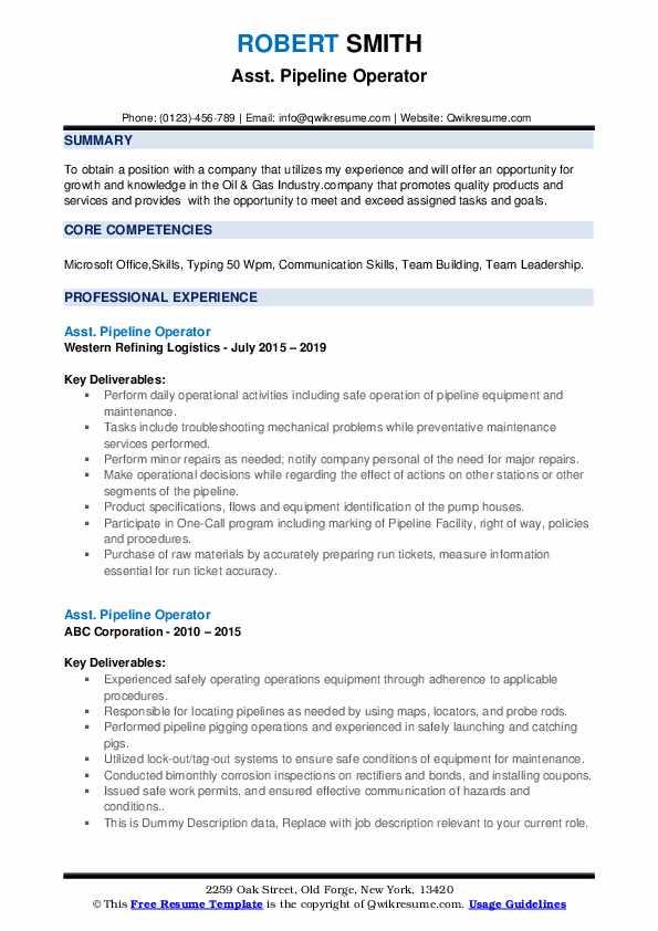 Pipeline Operator Resume Samples