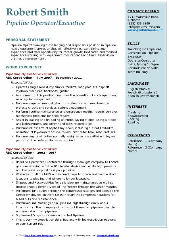 Pipeline Operator Resume Samples Qwikresume