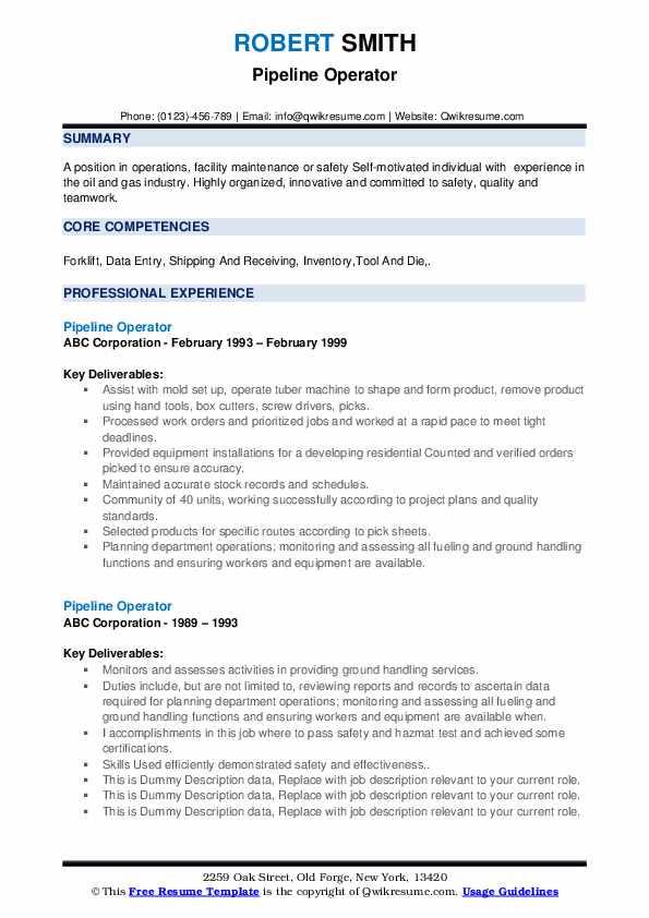 Pipeline Operator Resume example