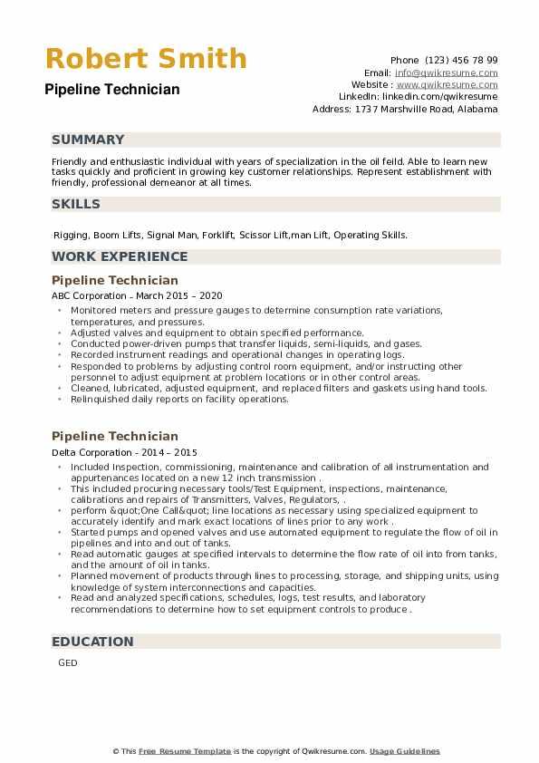 Pipeline Technician Resume example
