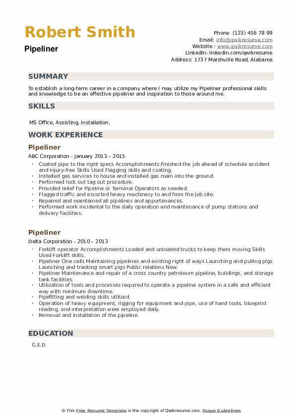 Pipeliner Resume example
