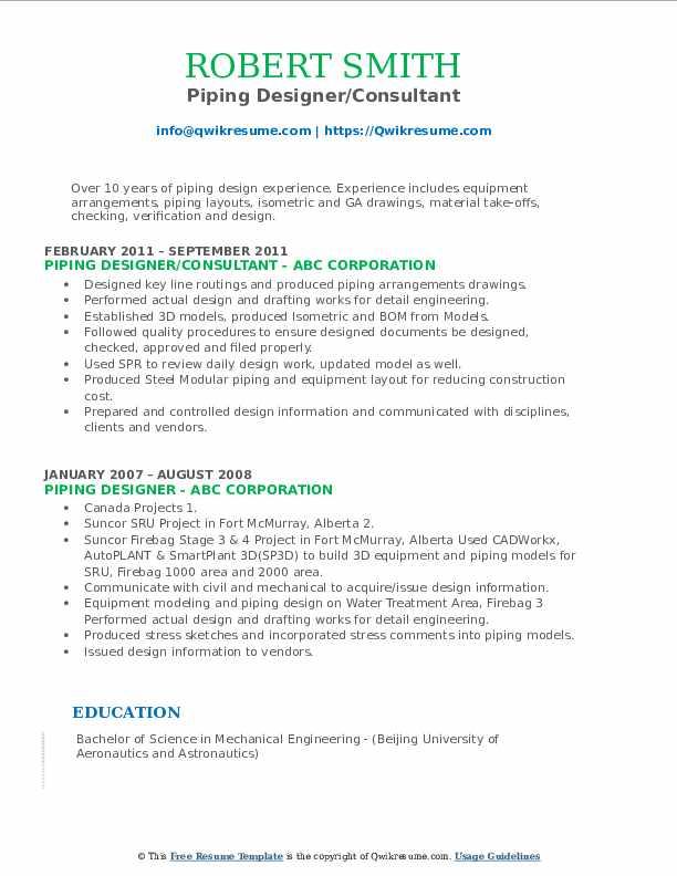 senior piping designer resume samples
