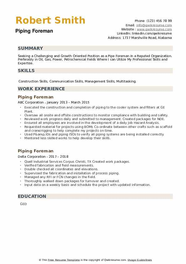 Piping Foreman Resume example