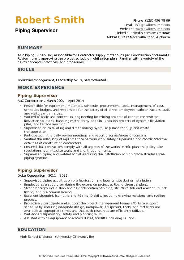 Piping Supervisor Resume example