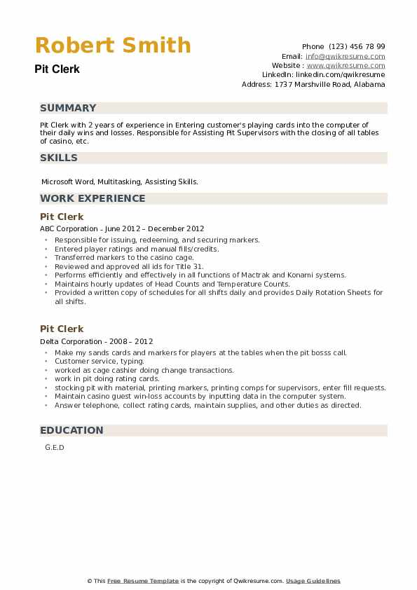 Pit Clerk Resume example