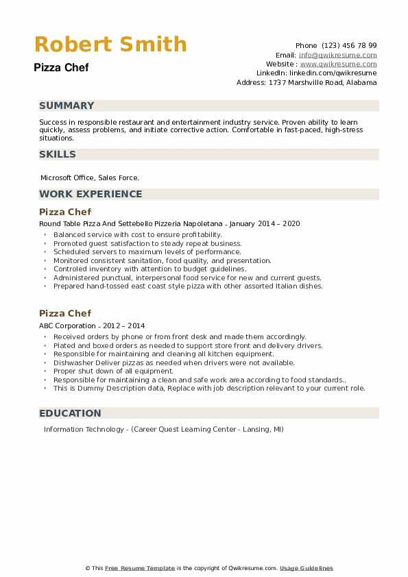 Pizza Chef Resume example