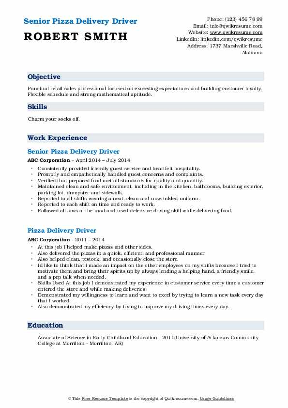 Pizza Delivery Driver Resume Samples Qwikresume