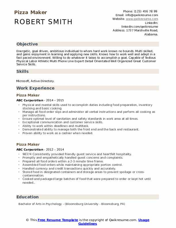 Pizza Maker Resume Samples Qwikresume