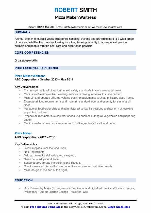 Pizza Maker/Waitress Resume Example
