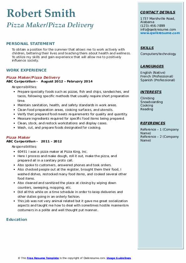 Pizza Maker/Pizza Delivery Resume Template