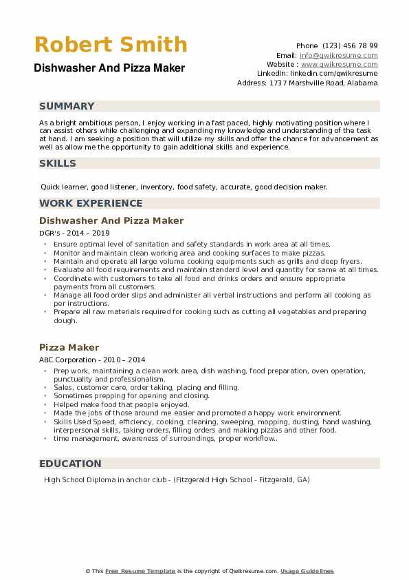 Dishwasher And Pizza Maker Resume Example