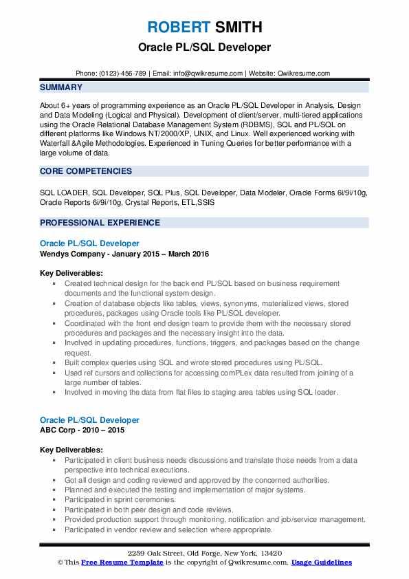 Oracle PL/SQL Developer Resume Sample
