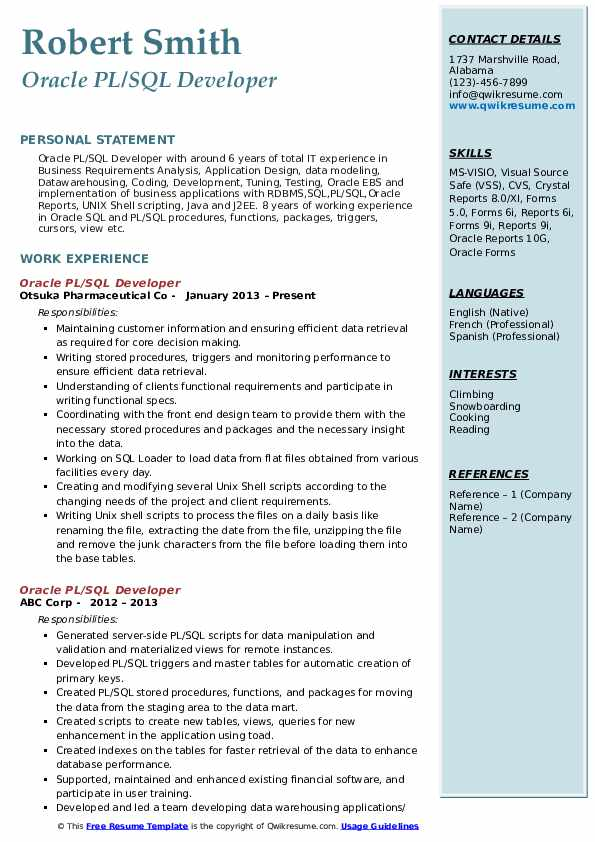 pl sql developer resume samples
