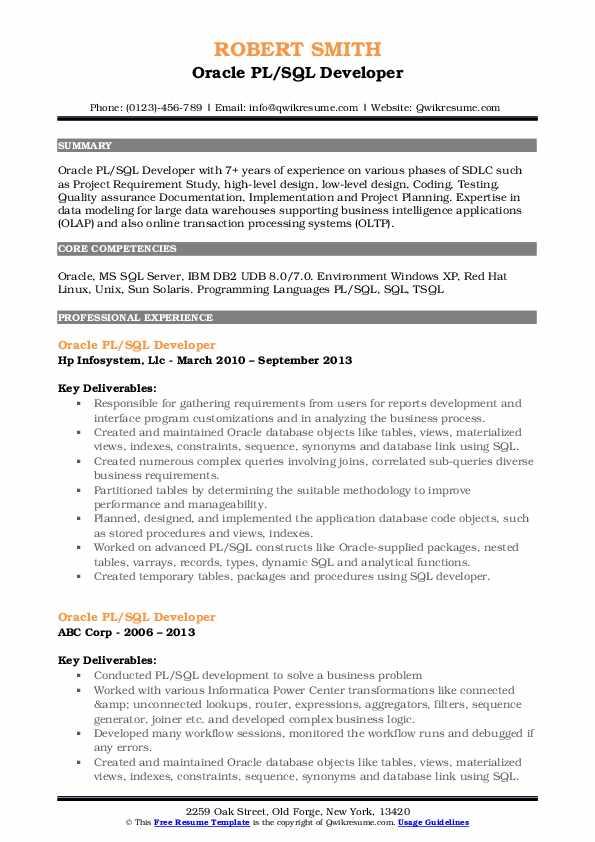 Oracle PL/SQL Developer Resume Example