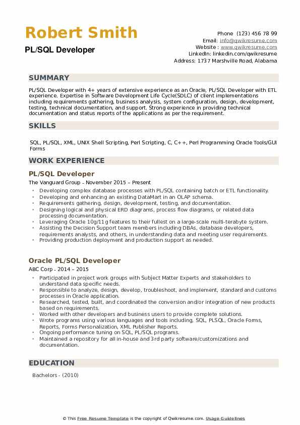PL SQL Developer Resume Samples | QwikResume