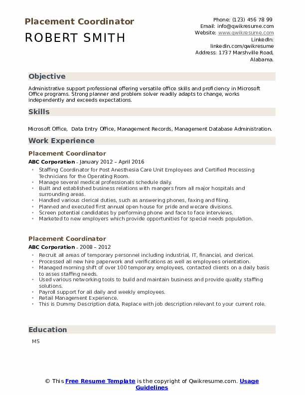 Placement Coordinator Resume example