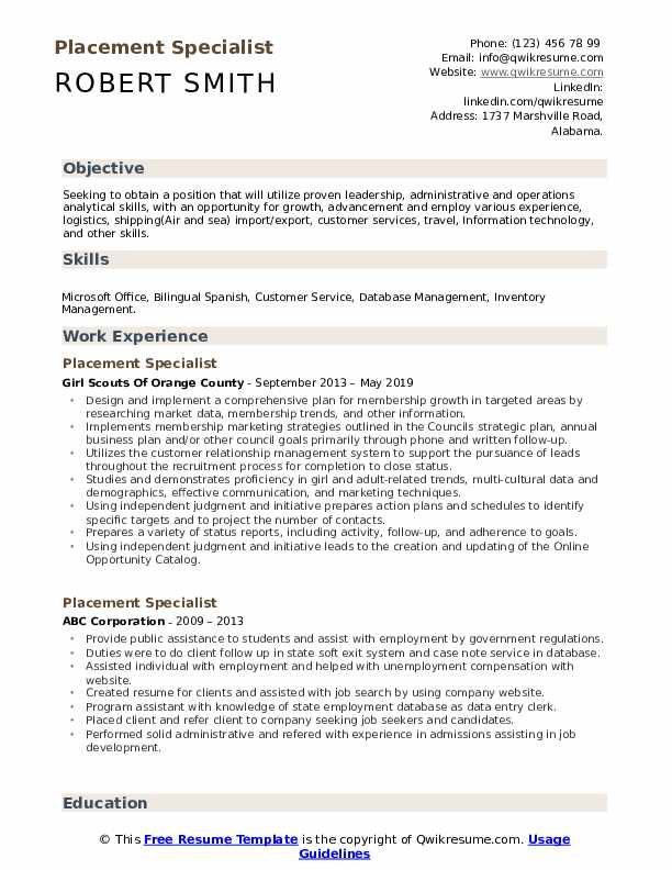 Placement Specialist Resume Format