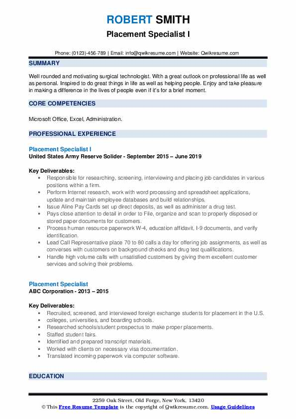 Placement Specialist I Resume Template