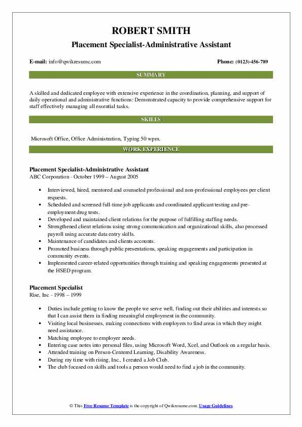 Placement Specialist-Administrative Assistant Resume Format