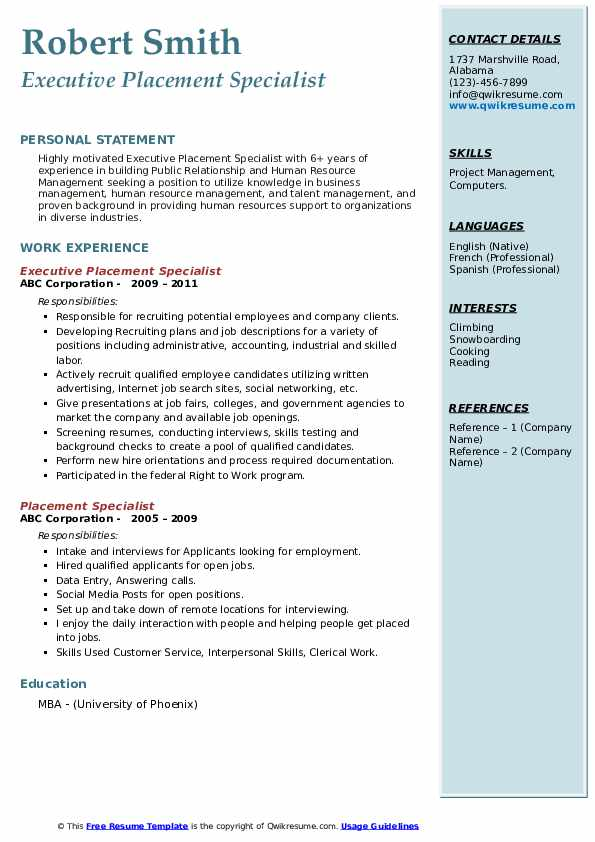 Executive Placement Specialist Resume Sample