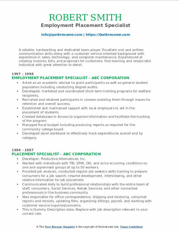 Employment Placement Specialist Resume Model