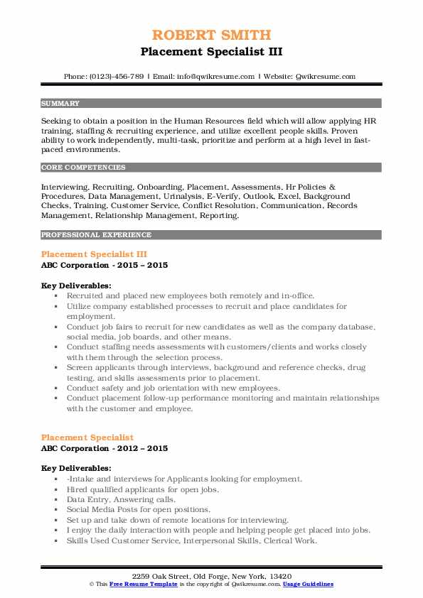 Placement Specialist III Resume Format